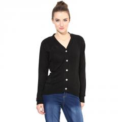Black V Neck With Cable Design Sweater