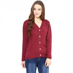 Marsala v-neck with cable design sweater