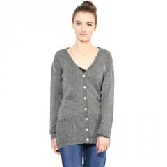 Grey v-neck sweater with front pocket