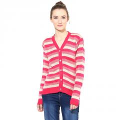 Fuchsia / off-white striped Cardigan