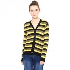 Black / Yellow striped Cardigan