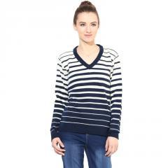 Off-white/blue striped pullover