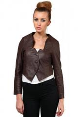 Leather jacket in brown color