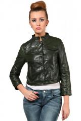 Green leather jacket with shirt collar