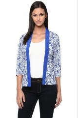 Blue and white printed shrug