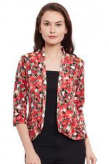 Red floarl print summer jacket