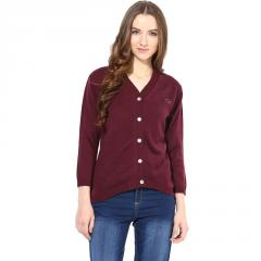 Marsala V Neck Line With Short Sleeve