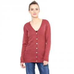 Marsala front button sweater