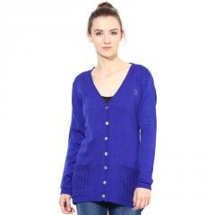 Blue V Neck Line With Pockets