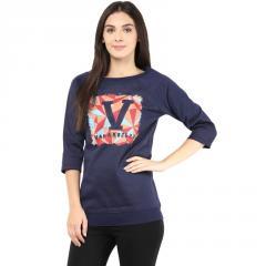 Round neck sweatshirt in navy blue color