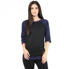 Round neck sweatshirt in black