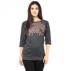 Charcoal Melange round neck sweatshirt with logo