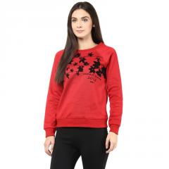 Round Neck Sweatshirt In Red Color With Flock Print