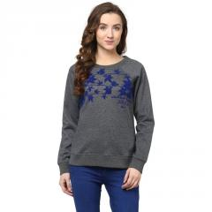Round Neck Sweatshirt In Grey Color With Flock Print