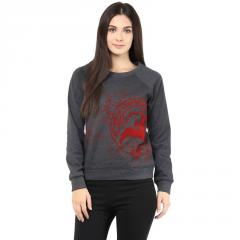Round Neck Sweatshirt In Charcoal Color With Distressed Khadi Print