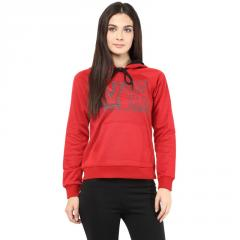 Hooded Sweatshirt In Red Color With V Patch