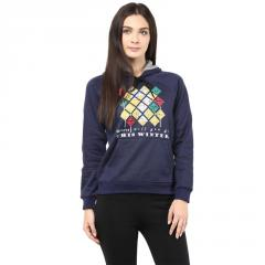 Hooded Sweatshirt In Navy Blue Color With Distressed Print