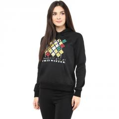 Hooded Sweatshirt In Black Color With Distressed Print