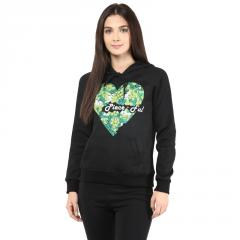 Hooded Sweatshirt In Black Color With Pigment Print