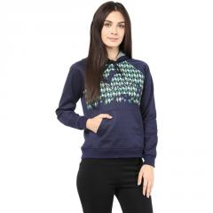 Hooded Sweatshirt In Navy Blue Color With Pigment Print