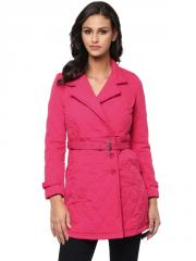 Collar-Neck Fuchsia quilted jacket