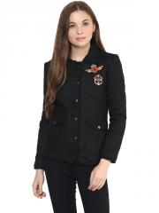 Black Quilted Patch Jacket