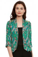Green printed summer jacket