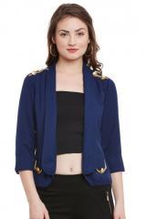Blue quarter sleeves summer jacket