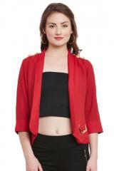 Red quarter sleeves summer jacket