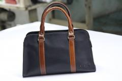 Black with brown Strips Women Bag