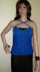 Sleeveless Blue Ladies Beaded Tops