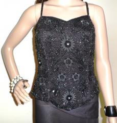 Black Sleeveless Beaded Tops