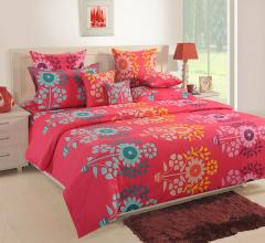 Pink And Blue Printed double Bed Sheet