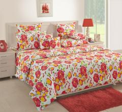 White and Lime Green Floral Cotton Bed Sheet with Pillow Covers