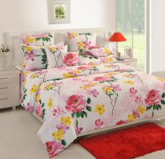 White and Yellow Floral Cotton Bed Sheet with Pillow Covers