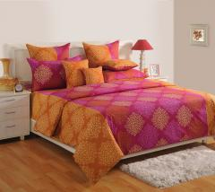 Purple Colour Ethenic Bed Sheet with Pillow Covers