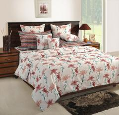 White and Peach Floral Cotton Bed Sheet with Pillow Covers