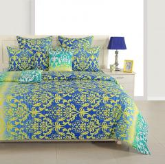 Blue and Yellow Ethnic Cotton Bed Sheet with Pillow Covers