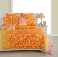 Orange and Yellow Ethnic Cotton Bed Sheet with Pillow Covers