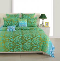 Green and Blue Ethnic Cotton Bed Sheet with Pillow Covers