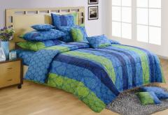 Blue and Green Colour Bed in a Bag Set of 4