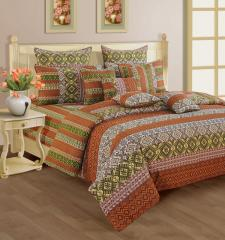 Rust and Beige Colour Bed in a Bag Set of 4