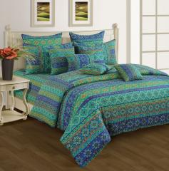 Blue and Sea Green Colour Bed in a Bag Set of 4