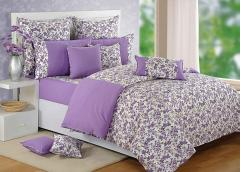 Purple and White Colour Bed in a Bag Set of 4