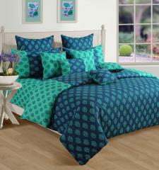 Turquoise and Blue Colour Bed in a Bag Set of 4