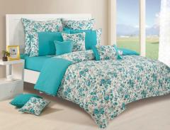 Teal and White Colour Bed in a Bag Set of 4
