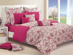 Magenta and Off White Colour Bed in a Bag Set of 4