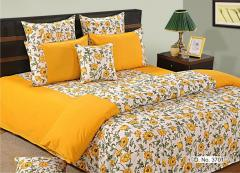 Yellow and White Colour Bed in a Bag Set of 4