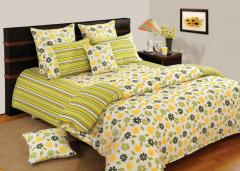Yellow and Green Colour Bed in a Bag Set of 4