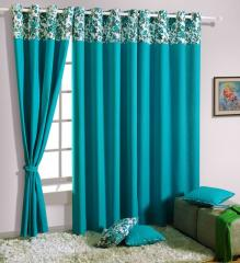 Turquoise Colour Solid Plain Eyelet Curtain for Long